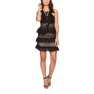 [Romeo Couture] Tiered Lace Up Ruffle Dress